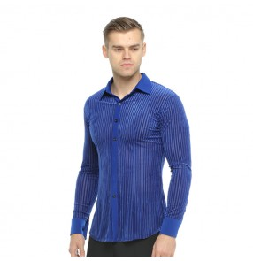 Men's latin shirts ballroom for male competition performance waltz tango long sleeves striped shirts tops