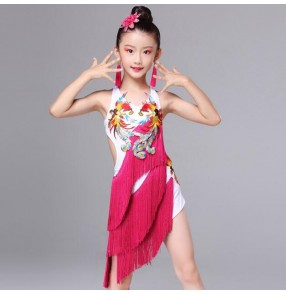 Girls fringes latin dress modern dance for kids children red competition stage performance salsa chacha rumba dancing outfits