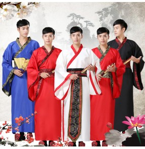 Ancient Chinese Costume Men Stage Performance Outfit for Dynasty Men's male Hanfu Chinese folk cosplay Costume Satin Robe Chinese Traditional Dresses