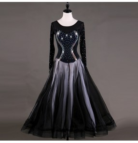 Ballroom dance dress for women black diamond competition performance long length tango waltz dancing dress