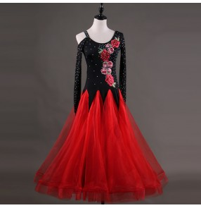 Ballroom dress for women female black and red long sleeves diamond competition stage performance tango waltz dancing dress