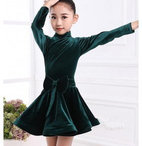 Black and red dark green velvet gray long sleeves girl's competition stage performance latin salsa cha cha dance dresses costumes
