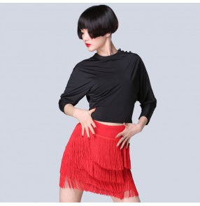 Black and red fringes patchwork women latin dress fashion competition salsa cha cha rumba dance dresses costumes