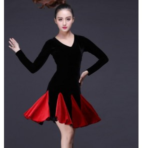 Black and red patchwork skirts v neck long sleeves women's velvet latin rumba salsa cha cha dance dresses skirts