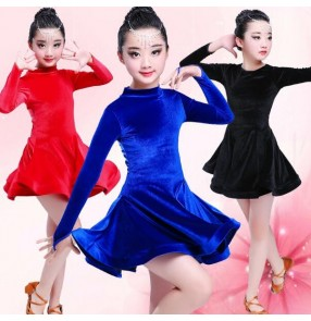 Black and red royal blue velvet long sleeves competition professional girl's kids children latin ballroom dance dresses