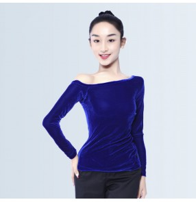 Black and royal blue velvet boat neck long sleeves women's competition gymnastics exercises practice latin ballroom dance tops blouses