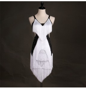 Black and white fringes patchwork sleeveless backless women's girl's competition rumba cha cha salsa latin dance dresses