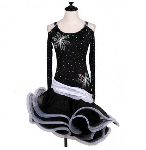 Black and white rhinestones ruffles dew shoulder long sleeves women'e female rumba salsa cha cha latin dance dresses