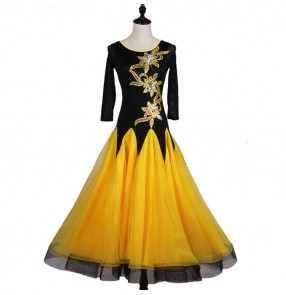 Black and yellow patchwork middle long sleeves competition professional women's girl's standard ballroom waltz tango dance dresses