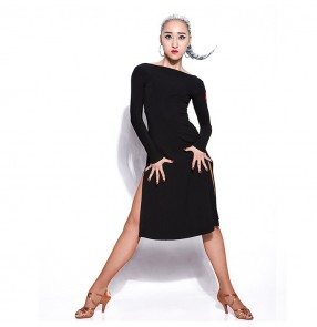 Black backless long sleeves competition practice stage performance girl's women's salsa rumba cha cha latin dance dresses