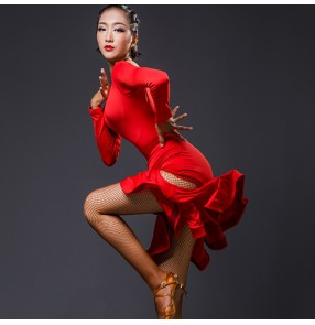 Black dark green red long sleeves women's female competition stage performance ballroom latin salsa dance dresses