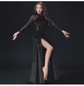 Black dark green wine red lace patchwork long sleeves competition stage performance women's female belly dance dresses costumes