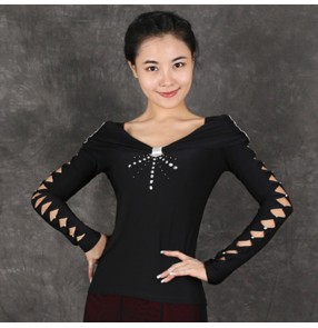 Black diamond hollow sleeves women's female long sleeves competition professional stage performance waltz tango ballroom dancing tops blouses