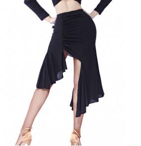 Black fashion irregular hem women's girl's competition performance exercises latin salsa cha cha dance skirts