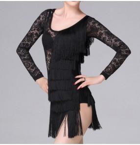 Black fringes latin dresses women's female competition stage performance lace latin salsa cha cha rumba dance dresses