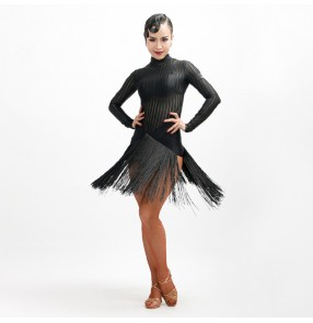 Black grey striped see through long sleeves women's female competition stage performance latin salsa cha cha dance dresses costumes