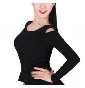 Black hollow shoulder women's female long sleeves competition professional performance ballroom tango waltz latin dance tops blouses