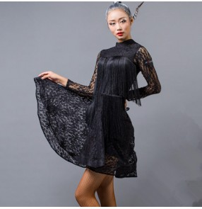 Black lace fringes tassels backless fashion women's female competition performance cha cha latin dance dresses costumes
