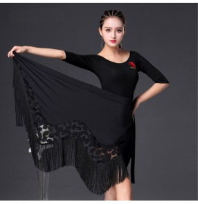 Black lace patchwork fringes triangle women's girl's female competition stage performance ballroom latin dance hipscarf wrap skirts