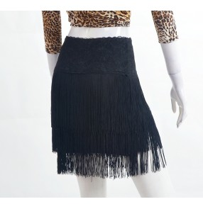 Black layers fringes sexy fashion women's female competition performance latin chacha salsa dance skirts