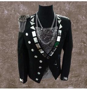 Black lens mirror long sleeves fringes epaulets men's male competition singers dj ds night club bar dance jackets coats