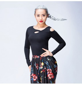 Black long sleeves hollow front  sexy fashion women's female competition stage performance ballroom salsa chacha latin dance tops