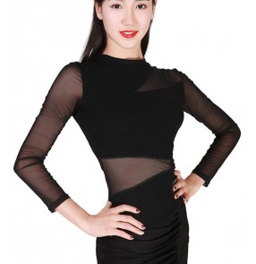 Black long sleeves tulle patchwork see through sleeves and waist women's female competition professional performance rumba salsa cha cha latin dance tops