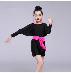 Black loose batwing long sleeves competition girl's children stage performance latin salsa dance dresses costumes outfits