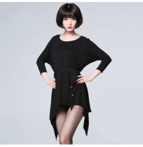 Black loose wide sleeves competition performance gymnastics women's practice salsa rumba salsa dance dresses