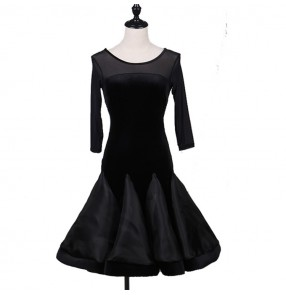Black mesh velvet patchwork fashion women's girl's competition performance salsa cha cha latin dance dresses costumes