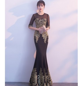 Black navy royal blue with gold embroidery women's  half sleeves competition wedding party celebration mermaid beads evening dresses costumes