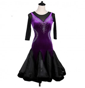 Black purple patchwork velvet competition professional stones women's female latin salsa cha cha dance dresses
