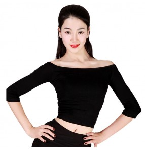 Black red boat neck short length women'e female competition performance professional ballroom latin dance tops shirts