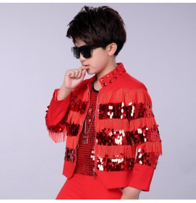 Black red fringes sequined boys kids drummer model singers dancers stage performance jazz hip hop dance jackets