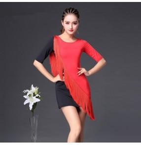 Black red patchwork fringes tassels women's girls latin salsa cha cha dance dresses costumes