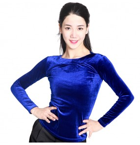 Black red royal blue velvet round neck long sleeves women's female competition practice gymnastics latin ballroom dance tops