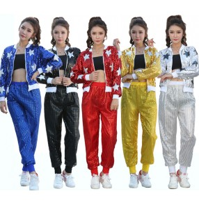 Black red silver yellow gold royal blue sequined paillette  modern dance women's men's girl's growth cheerleader school jazz hip hop dance costumes outfits