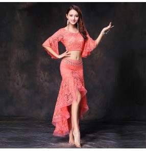 Black red turquoise coral navy white lace sexy irregular ruffles skirts women's girl's performance photos belly dance dresses costumes