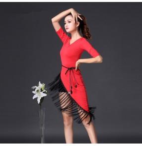 Black red v neck fringes irregular hem half sleeves women's female competition stage performance ballroom latin dance dresses