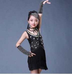 Black rhinestones competition stage performance girl's kids children ballroom salsa latin dance dresses costumes
