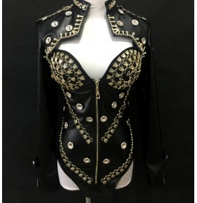 Black rivet rhinestone pu leather women's fashion night club bar party jazz singers pole dance photos performance dancing jackets bodysuits leotards