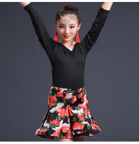 Black rose girl's kids children competition latin dresses children kids salsa cha cha rumba dance dresses costumes clothes