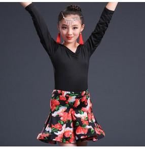 Black rose girl's kids children competition latin dresses children kids salsa cha cha rumba dance dresses costumes clothes