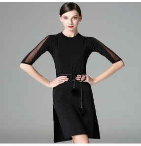 Black see through sleeves fashion side split women'e female competition performance professional latin salsa dance dresses