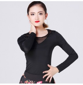 Black see through tulle front long sleeves fashion women's ladies competition gymnastics latin ballroom dance tops blouses