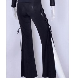 Black side split lace patchwork draw string fashion competition professional women's female latin practice ballroom dance long pants
