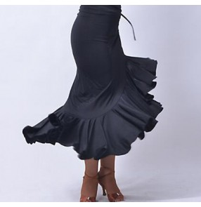 Black side split ruffles irregular hem women's female competition professional latin salsa cha cha dance rumba dance skirts