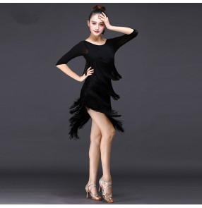 Black tulle fabric half sleeves layers of fringes competition professional exercises women's rumba chacha salsa latin dance dresses