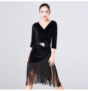Black velvet half sleeves v neck fashion women's ladies fringes tassels latin salsa cha cha rumba dance dresses costumes