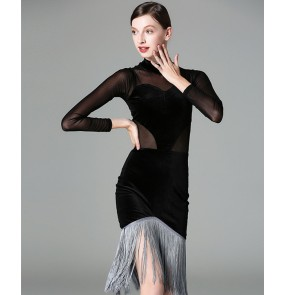 Black velvet long sleeves see through sexy fashion women's female competition professional latin salsa cha cha dance dresses costumes